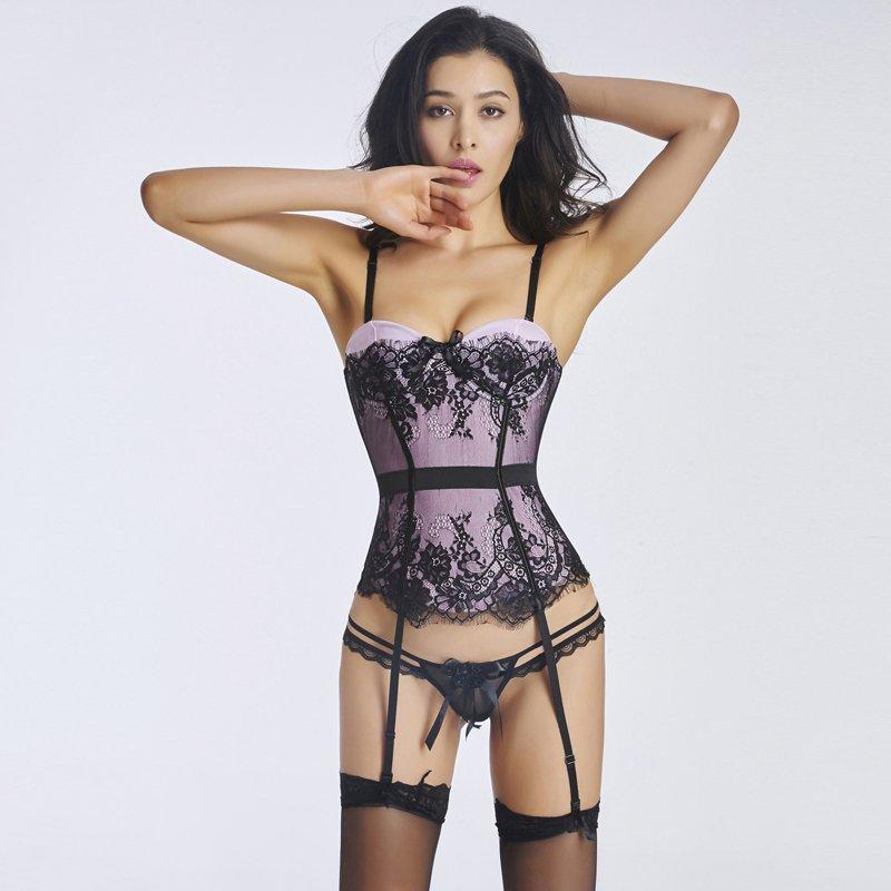 Sexy Women Overbust Spaghetti Straps Corest Waist Trainer Not Include Garters Bodyshaper W46226D