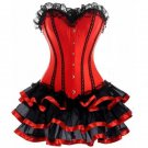 Overbust Corset Bustier Lace Evening Women Corset Dress Red Waist Cincher Corset Shapewear W58036
