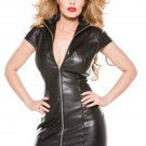 Ladies Turn Down Collar Black Vinyl Catsuit Dress Zipper Short Sleeve Bodycon Mini Dress W860705