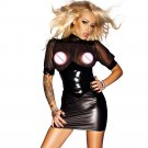 Women Summer Sexy Black Club Vinyl Faux Leather Bodycon Nightclub Party Dresses Clothing W860709