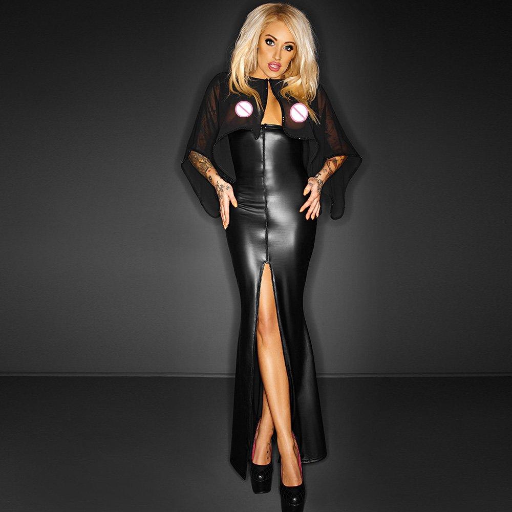 Women Sexy Black Leather Dress Sexy Vinyl Lace Nightclub Long Dress Nightdress Back Open W860717