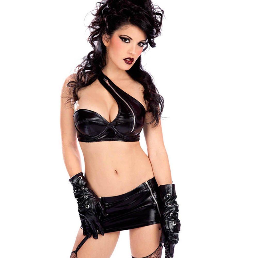 PVC Babydoll Lingerie Bangage Black Lingerie Cheap Fashion Vinyl Leather Bikini Set Lingerie W850573
