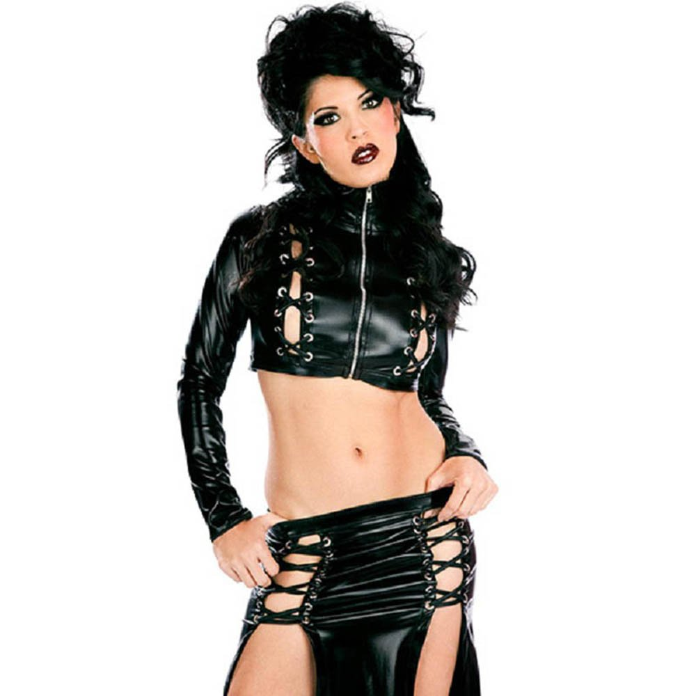Sexy Club Dress Set Wet Look Dress Black Fashion Ladies Summer Night Vinyl Set Clubwear W850575