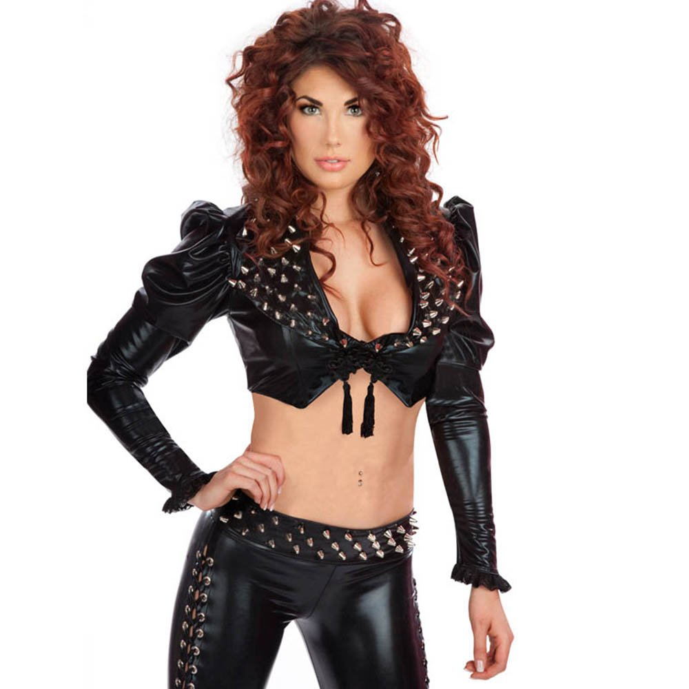 Steampunk Women Black V-neck Long Sleeves Sexy Rivet Faux Leather Rompers Nightclub Wear W850764
