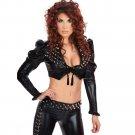 Steampunk Women Black V-neck Long Sleeves Sexy Rivet Faux Leather Rompers Nightclub Wear W850764