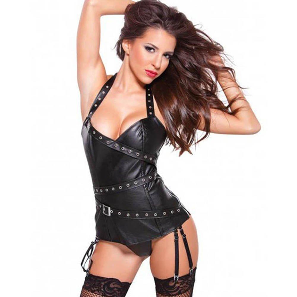 Sexy Women Vinyl Corset Dress Halter Faux Leather Black Bustier Overbust W841002