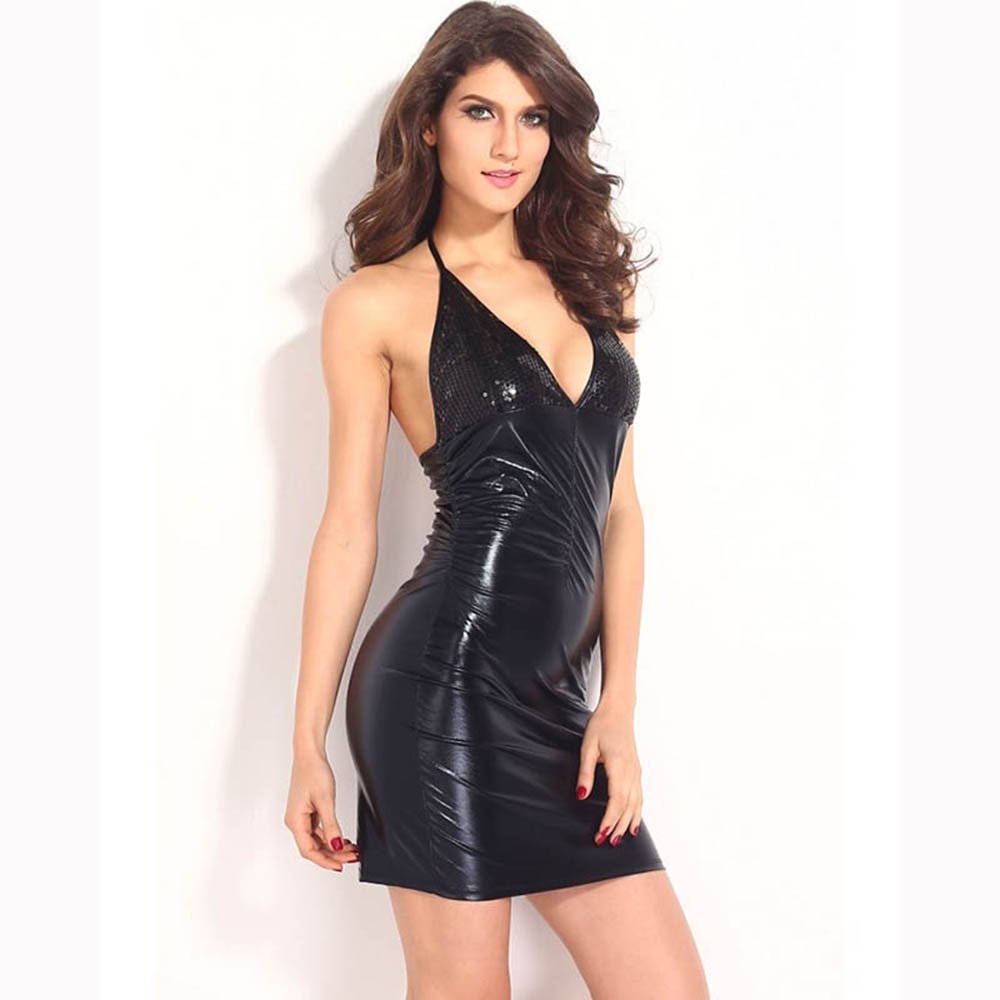 Black Vinyl Leather Wet Look Mini Dress Sleeveless Fashion Halter Party Dress Short Clubwear W845147