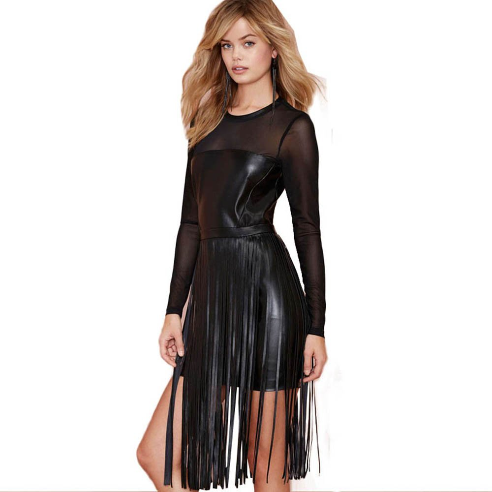 Vintage Faux Leather Dress Tassel Sexy Black Long Sleeve Wetlook Vinyl Women Bodycon Dresses W850445