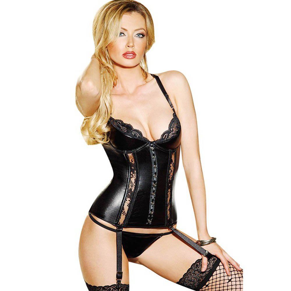 Sexy Lingerie Set Women Seduce Black Back Lace up Faux Leather Vest Teddy W850504