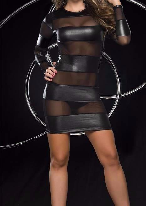 Women Banded Bodycon Woman Sexy Fashion Black Faux Leather Vestido Dress W850511