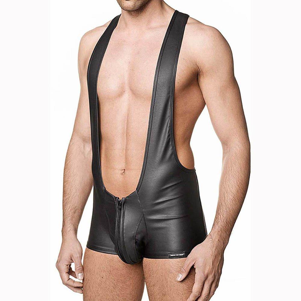 Men Flexible Jumpsuit Men Halter Boxers Underwear Men Latex Bodysuit Pole Clothes W850562