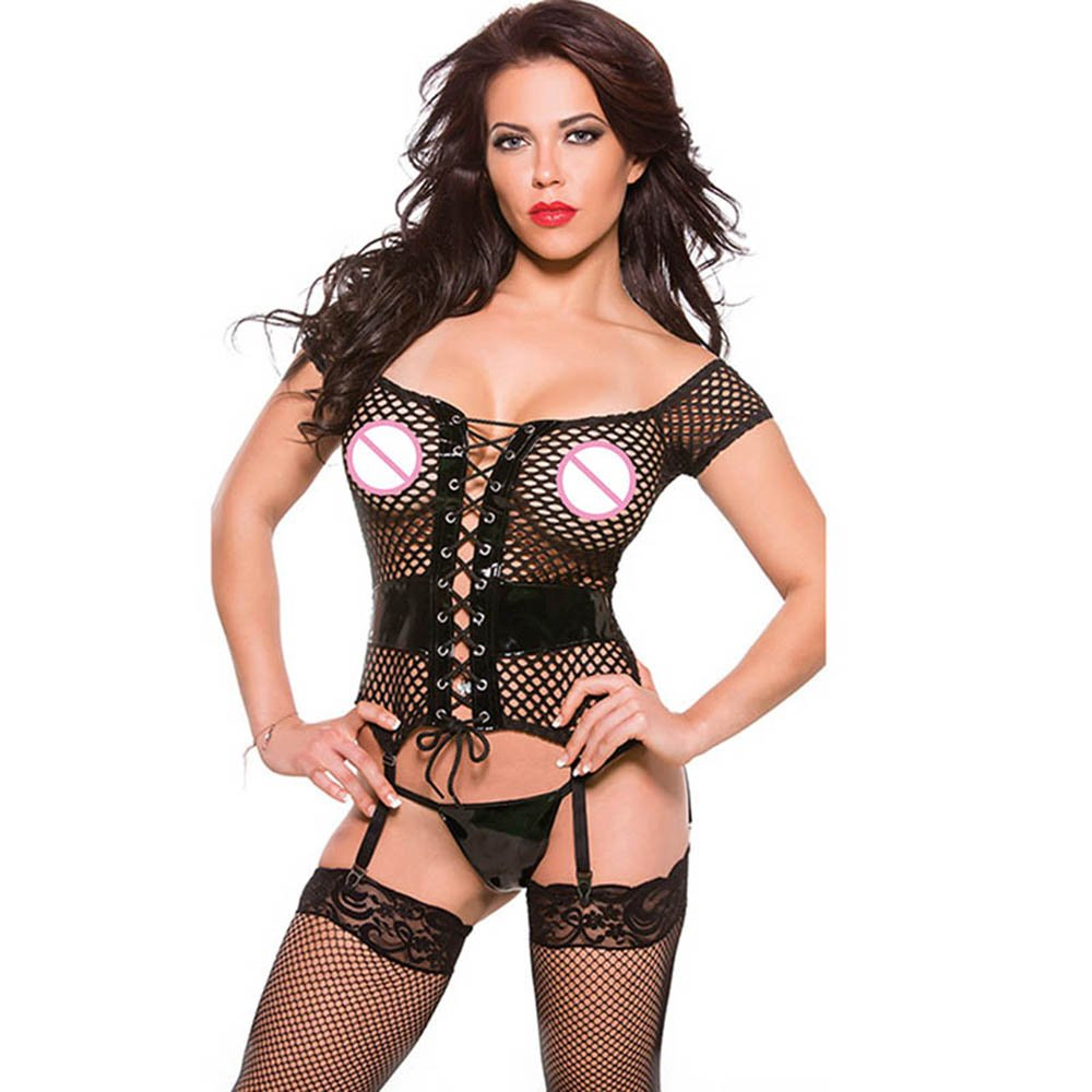 Black Sexy Vinyl Lingerie Novelty Hollow Out Exotic Babydolls Chemises Women Teddies W850852