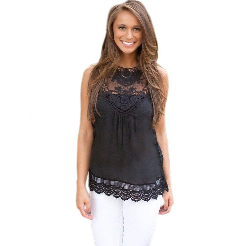 Fashion Women Casual Women Summer Vest Top Sleeveless Blouse Casual Tank Tops Shirt Lace WT33068A