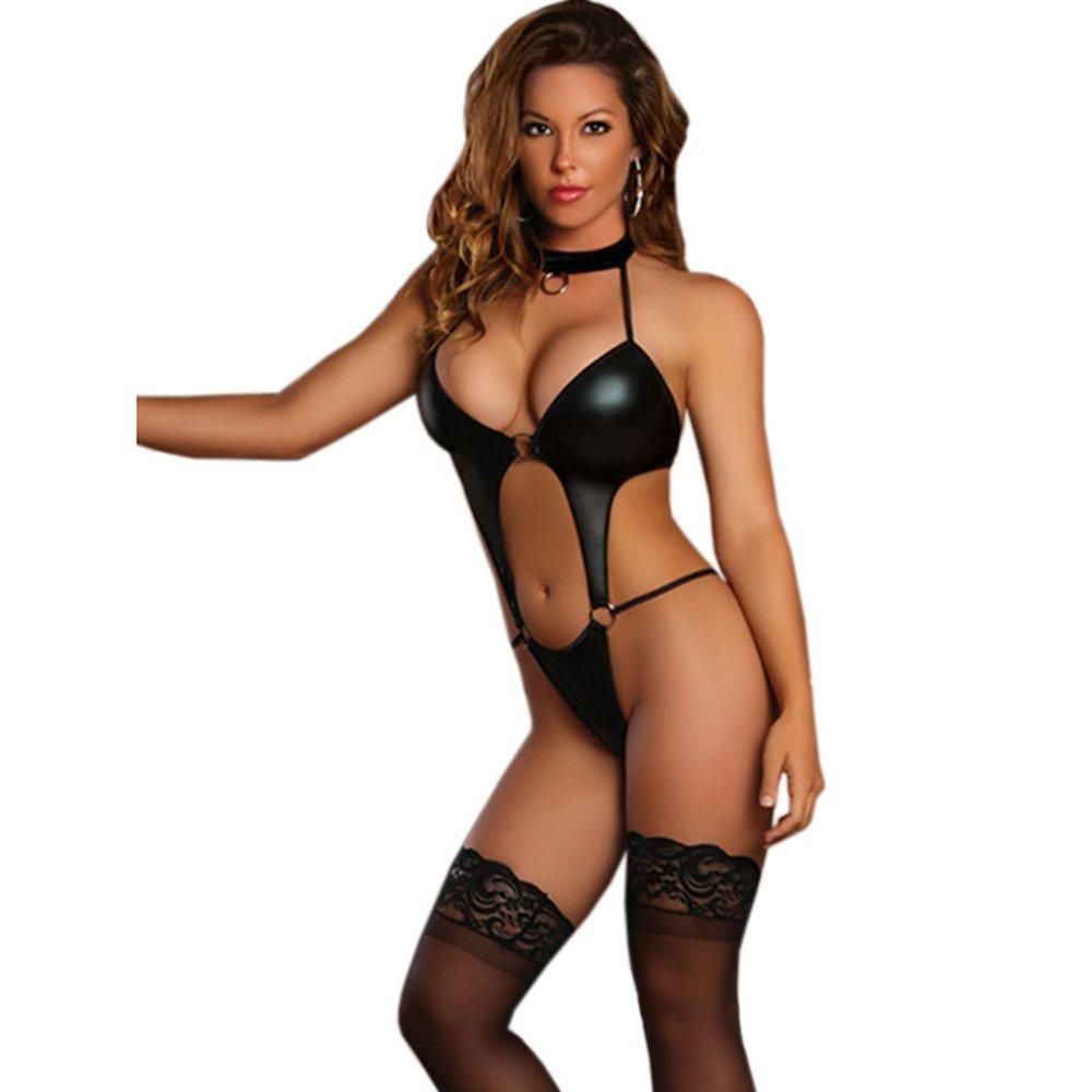 Women Wetlook Latex Lingerie Vinyl Hollow Out Teddy Halter Nightwear Steel Rings To Link W880452