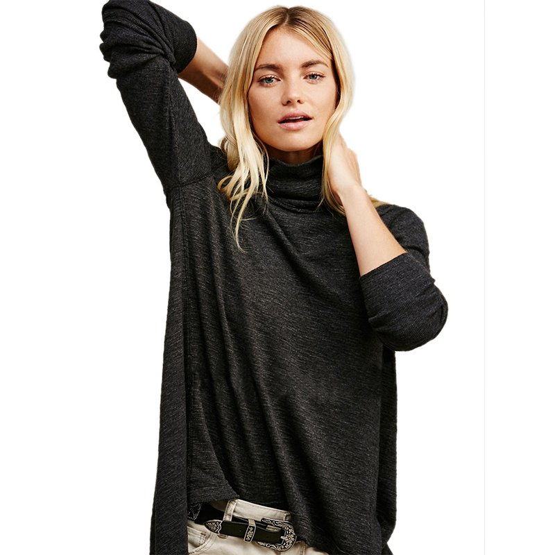 Women Spring Autumn Sexy High Neck Blouse Top Vintage Back Split Long Sleeve Loose Blusas WT33085B