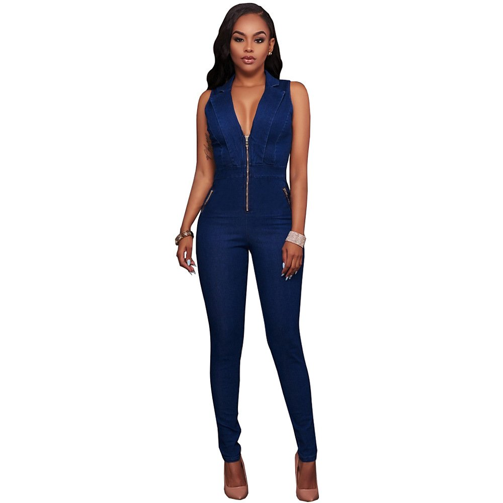 Women New Style Denim Overalls Jeans Jumpsuit Sexy Bodycoon V-Neck Zipper Bodysuits WT76075