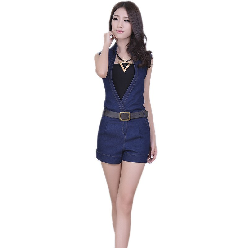 Summer New Sexy Fashion Women New Style Denim Jeans Jumpsuit Sexy V-Neck Bodysuits WT76077