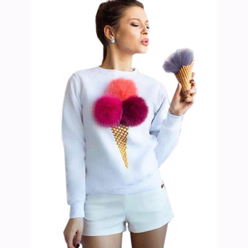2017 Autumn Women Ice Cream Hoodie Plush Ball Full Sleeve Causal Sweatshirts Sweatshirts WT32648