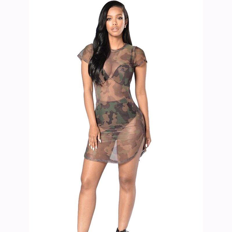 Sexy Woman Summer O-Neck Short Sleeves Camouflage Dresses See Through Cool Dress WT32704