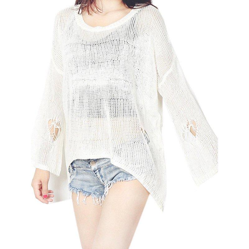 Knitted Crochet Women Blouses Fashion Spring Autumn Beach Kimono Knits Hollow Out ShirtTops WT52019A