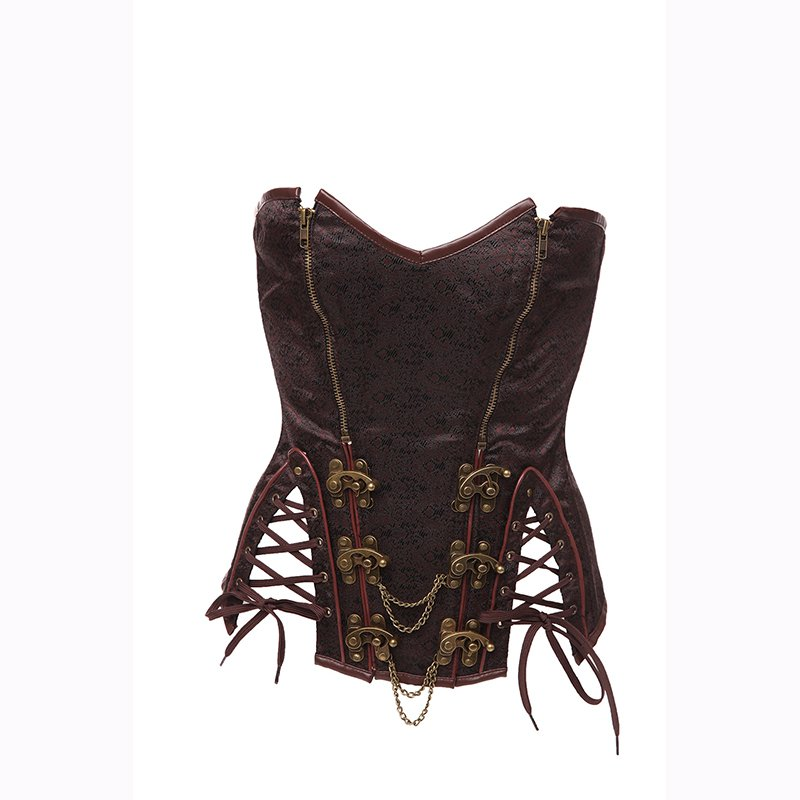 Brown Women Under Bust Waist Print Trainer Corset Vintage Style Ladies Bustier Corselet W580925