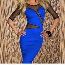 Sexy Mesh Split Midi Dress Mesh Dresses Sheath Bodycon Round Neck Cut Out Dress W203118B