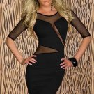 Sexy Mesh Split Midi Dress Mesh Dresses Sheath Bodycon Round Neck Cut Out Dress W203118C