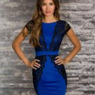 Women Bodycon Sexy Fashion Clubwear Lace Blue High Quality Backless Dress 2017 New Hot Sale W123223C
