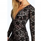 Lace Deep V Neck Sexy Bodycon Women Sexy Fashion High Quality Party Wear Club Dress W850639B