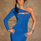 Stylish 2017 Summer New High Quality Sexy One Shoulder Split Blue Bodycon Women Dress W203121D