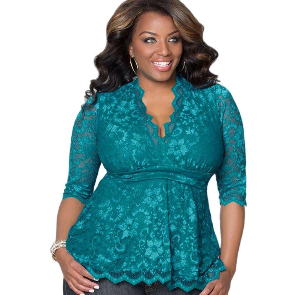Women Plus Size Lace Tops XL-5XL Sexy V Neck Half Sleeve Tight Waist Shirt Casual WT33229B