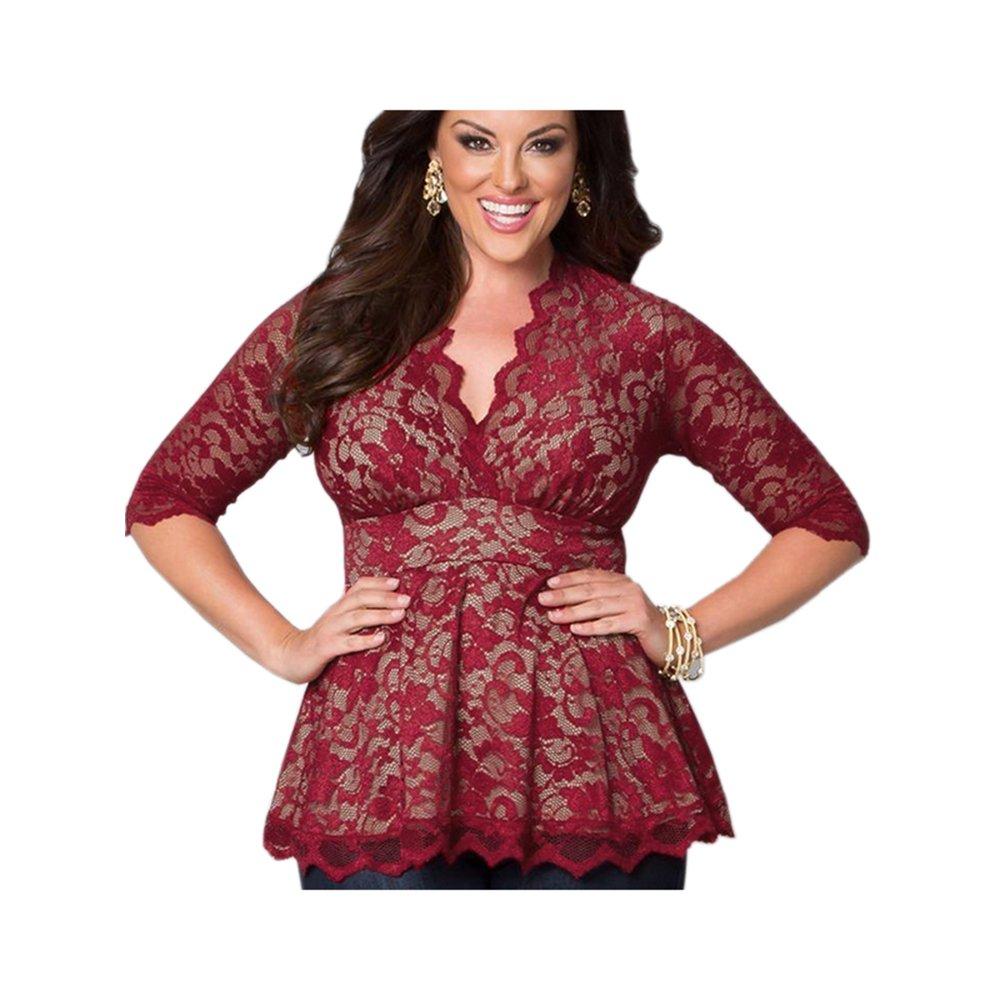 Women Plus Size Lace Tops XL-5XL Sexy V Neck Half Sleeve Tight Waist Shirt Casual WT33229D