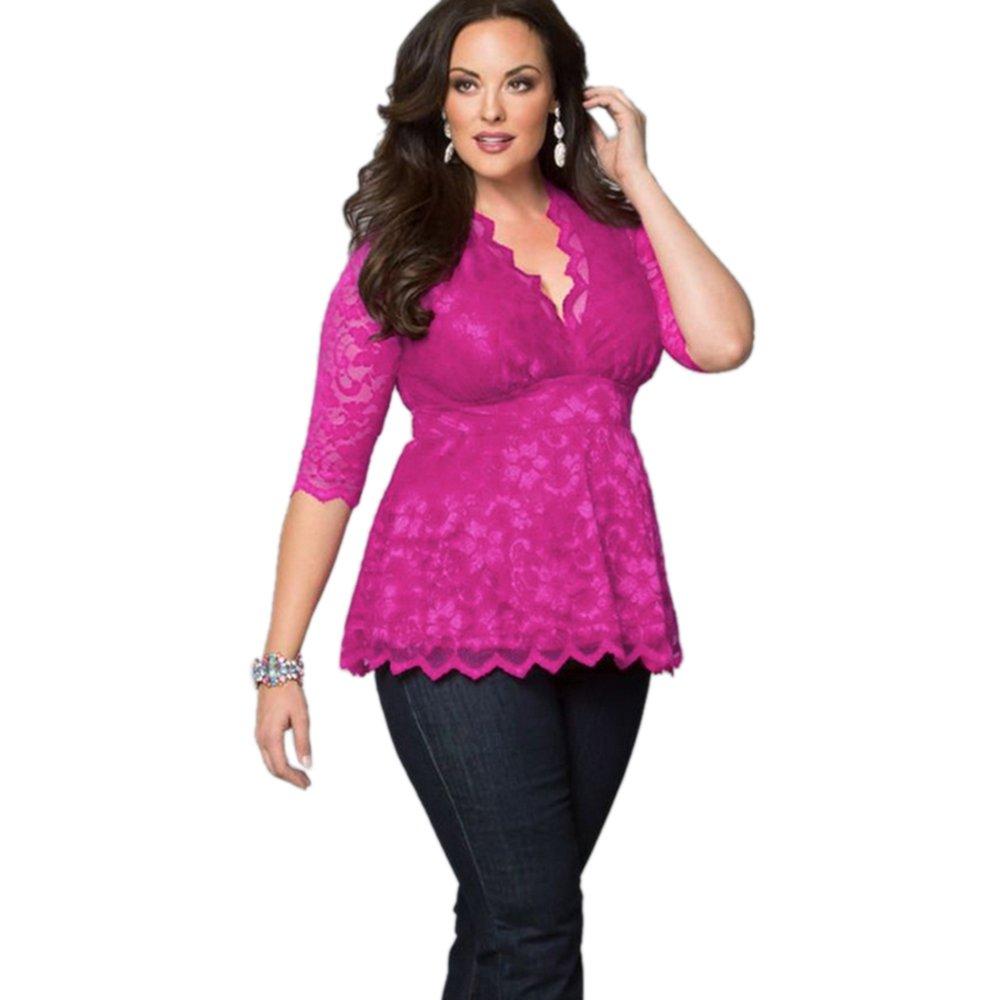 Women Plus Size Lace Tops XL-5XL Sexy V Neck Half Sleeve Tight Waist Shirt Casual WT33229E