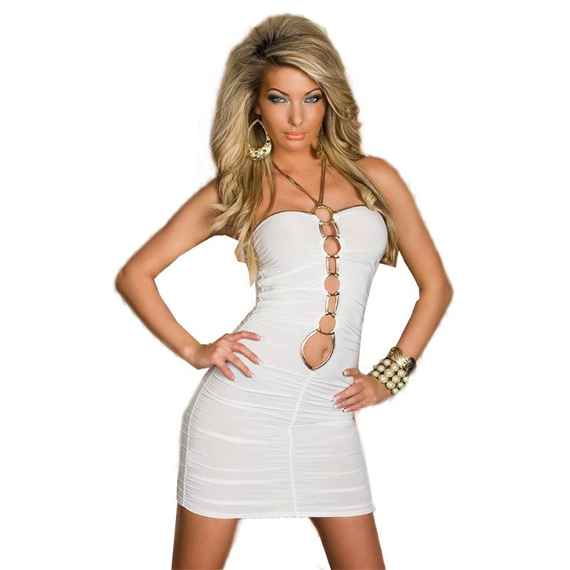 Women Mini Gold Open Front Accent Sey Summer Style Slim Strapless Club Bodycon Dress W3325A