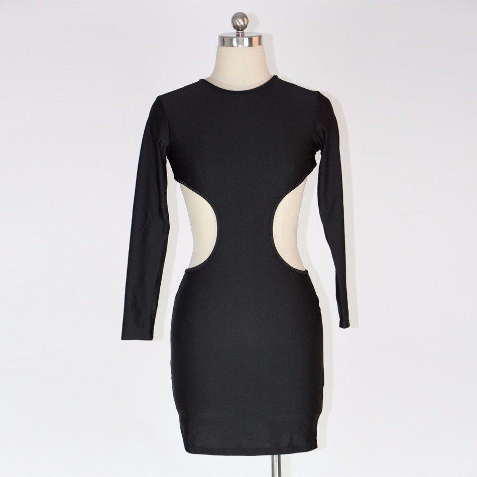 Bodycon Dress Long Sleeve Backless Slim Fit Clubwear Dress Sexy Midi Pencil Dress W203225C