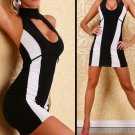 Hot Sale Striking Cut Out White striped Dress mini bandage dresses vestido W273033A