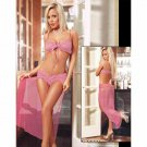 Net Yarn Solid Exotic Lingeire Set Bra Push Up Transparent Super Deal Pajamas Set W203639A