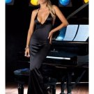 Women Red Black Long Satin Dress Halter Neck Tie Decorate With Rhinestone Sexy Gown W203595A