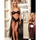 Net Yarn Solid Exotic Lingeire Set Bra Push Up Transparent Super Deal Pajamas Set W203639C