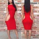 Sexy Knee-Length Women Midi Dress Vestidos Black Red Long Sleeve Bodycon Pencil Party Dress W203772B