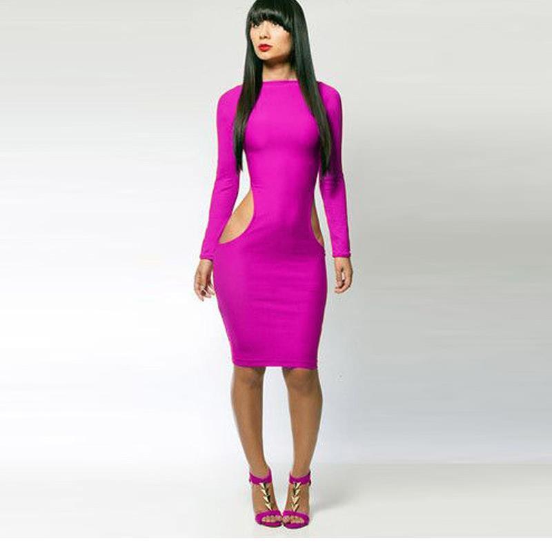 Sexy Knee-Length Women Midi Dress Vestidos Black Red Long Sleeve Bodycon Pencil Party Dress W3771B