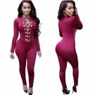 Sexy Deep V Neck Metal Ring Lace Up Jumpsuit Women Party Clubwear Slim Jumpsuit Bodysuit W860427