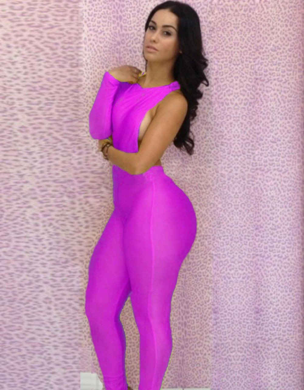 Women One Piece Outfits Jumpsuits Bodycon Backless Sexy Plus Size Rompers Playsuit W203713D