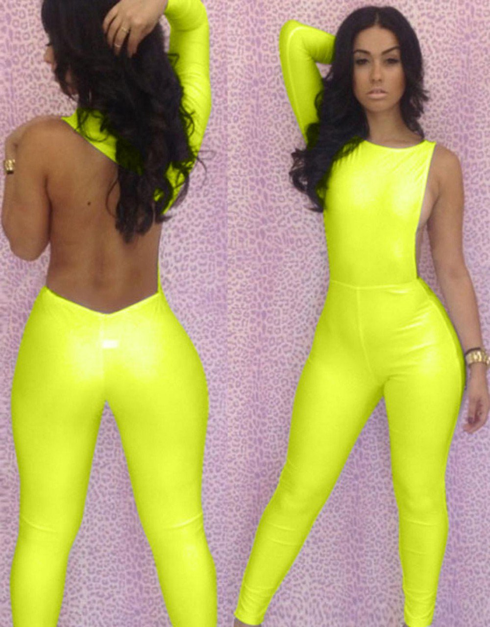 Women One Piece Outfits Jumpsuits Bodycon Backless Sexy Plus Size Rompers Playsuit W203713F
