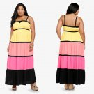 Women Striped Bohemian Plus Size Maxi Dress Contrary Colors Sexy Long Casual Sundress W846035A