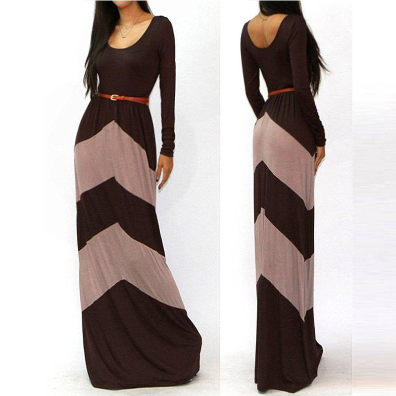 Hot Sale Sexy Autumn Fashion Women Dragon Block Striped Long Sleeves Dress W84350D