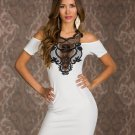 New Off The Shoulder Lace Trim Mini Dress Slim Hip Wrapped Women Party Club Dresses W84314A