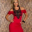 New Off The Shoulder Lace Trim Mini Dress Slim Hip Wrapped Women Party Club Dresses W84314B