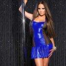 Women Nightclub Pole Dancing Clothes Vinyl Leather Mesh Halter Sexy Mini Erotic Dress W207973G