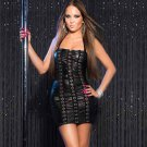 Faux Leather Halter Sleeveless Mini Dress Strapless Sexy Night Club Pole Costume L W207972A